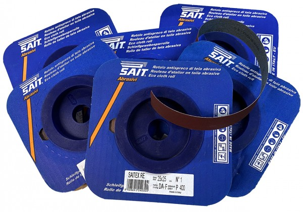 6 x Sait cloth backed abrasive. 25mm x 25 metre roll x 6 rolls